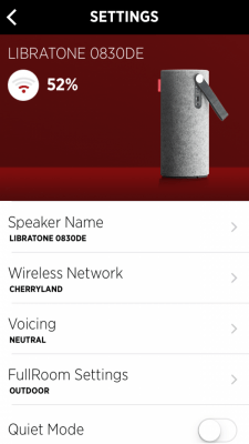 Libratone App Settings