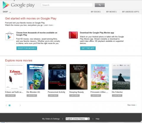 Screenshot Google Play Videostore (www.google.de)
